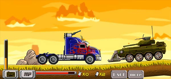 image of Optimus Prime truck destroys enemy tank