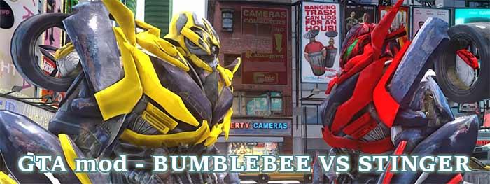 GTA mod – BUMBLEBEE VS STINGER – Car Smashing Battle ...